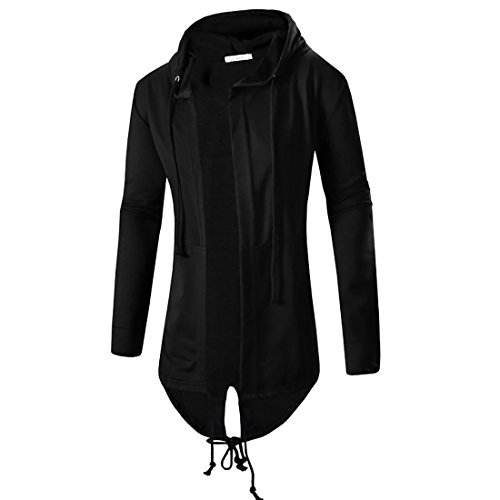 Comeon Men's Black Hooded Cardigan Cool Long Length Large Open Lightweight Cape Cloak Coat Drape Cardigans Hoodie (Black,US XL/Asian 2XL) by Comeon