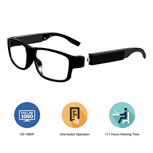 Hidden Camera Glasses – Spy Camera Eyeglasses FHD 1080p Mini Wearable Glasses Camera with Two Replaceable Batteries – 2 Hours Video Taking(16GB Memory) for Business Conference and Security