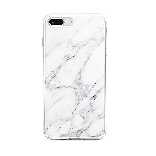 Obbii Case for iPhone 7 Plus/ 8 Plus/6 Plus/6S Plus Unique Grey White Marble Design Slim TPU Flexible Soft Silicone Protective Durable Cover Case Compatible with iPhone 7 Plus/8 Plus/6/6S Plus(5.5