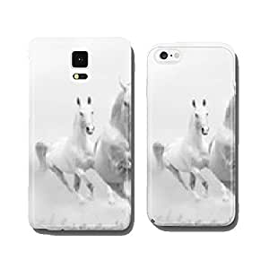 white horses in dust cell phone cover case Samsung S6