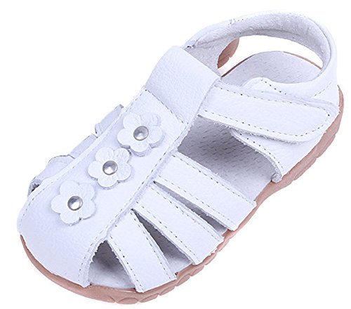 Femizee Girls Casual Leather Closed Toe Flower Princess Dress Sandal(Toddler/Little Kid),White,1508 CN24