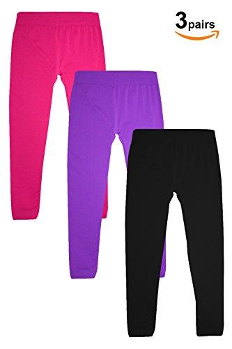 Basico Kids Girls Seamless Stretch Legging (Small, 3 PCS BLK/PUR/PNK) - Girls Leggings Size 7