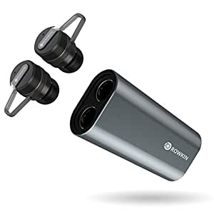 Rowkin Bit Charge Stereo with Earhooks: True Wireless Earbuds w/Charging Case. Bluetooth Headphones, Smallest Cordless Hands-Free In-Ear Mini Earphones Headsets w/Mic & Noise Reduction (Space Gray)