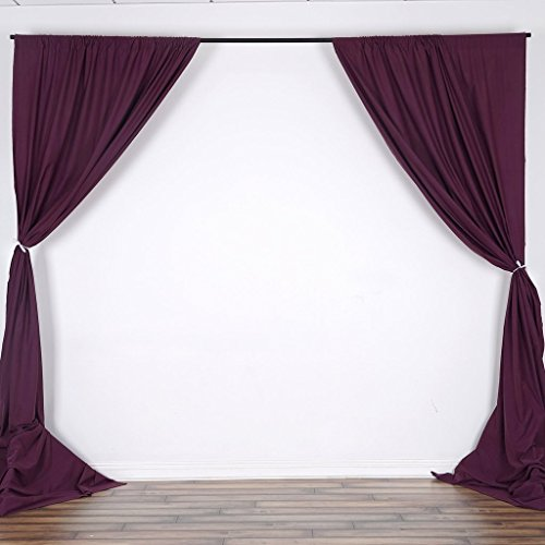 Eggplant Curtains (Efavormart 10FT Eggplant Polyester Curtain Backdrop Drape Panel- Premium Collection For Window Wall Event Photoshoot Decoration)