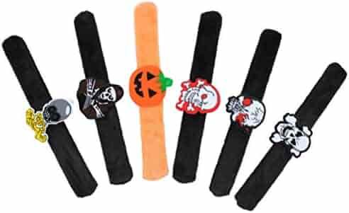 Hemobllo 6pcs Halloween Bracelets Wristbands Slap Bands Toy for Kids Halloween Party (Mixed Style)