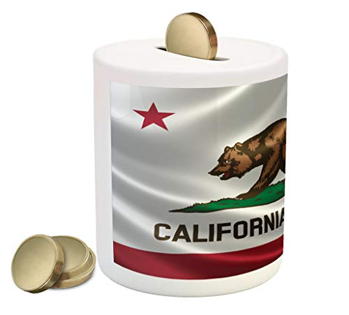 Lunarable American Piggy Bank, California Historical Bear Flag Lone Star of Texas Nature Freedom Independence, Ceramic Coin Bank Money Box for Cash Saving, 3.6