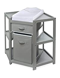 Badger Basket Diaper Corner Baby Changing Table with Hamper and Basket, Gray/White BOBEBE Online Baby Store From New York to Miami and Los Angeles
