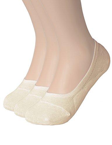 OSABASA Cotton No Show Sock Women's invisible Non Slip Flat Boat Liner Socks BEIGE medium (SETKWMS09)