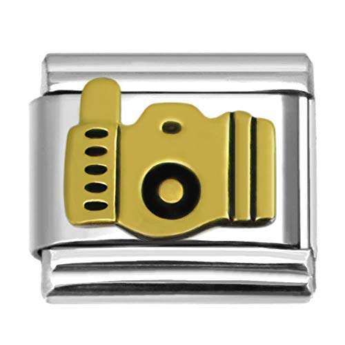 SilveAndJewelry Camera Italian Charm 9 mm Stainless Steel Bracelet Link