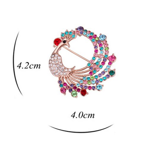 Fashion Jewelry Elegant Swarovski Elements Crystal Colorful Peacock Brooch Pin Champagne Gold Plated by CNCbetter (Image #3)