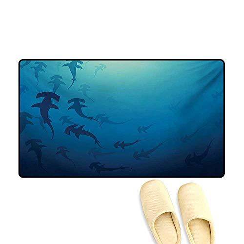 Door-mat,Hammerhead Shark School Scan Ocean Dangerous Predator Wild Nature Illustration,Bath Mats for Floors,Navy Blue,16