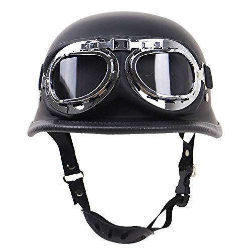 Motorcycle Half Face Helmet, DOT Certification Vintage Fashion Motor Bike Harley Helmets Men and Women Helmets Half-Covered Helmets Cruise Helmets Prince Helmets,MeaatBlac,M
