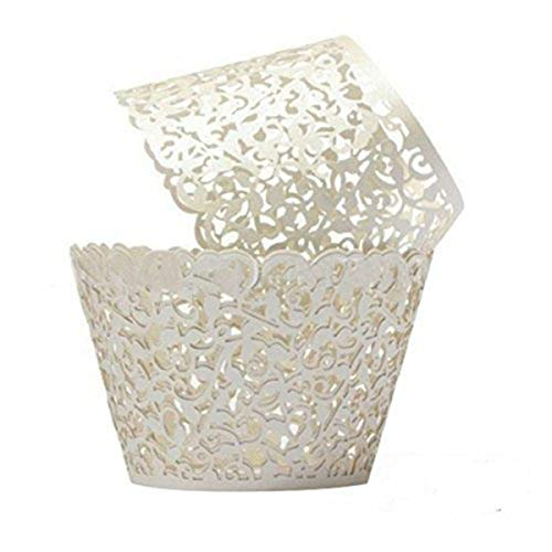 ForPeak Cupcake Wrappers 100 Filigree Artistic Bake Cake Paper Cups Little Vine Lace Laser Cut Liner Baking Cup Muffin Case Trays for Birthday Decoration Wedding Party (White)
