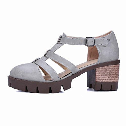 Mee Shoes Damen modern bequem Schnalle Geschlossen Niedrig dicker Absatz amtungsaktiv Knöchelriemchen Plateau Pumps Grau