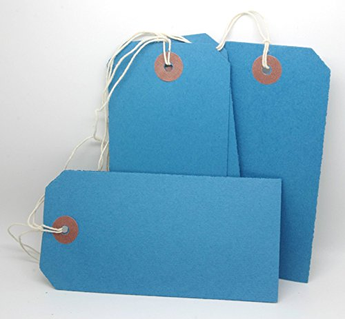 Tags Luggage Wholesale (250 LARGE REINFORCED BLUE STRUNG TAGS LUGGAGE LABELS 120 x 60mm)