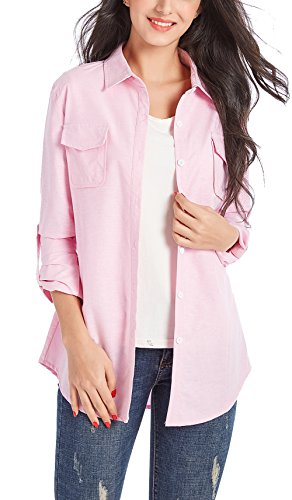 NUOREEL Womens Casual Soild Soft Button Up Tops 3/4 Long Sleeve Cuffed Blouse Shirts (Small Pink 1)