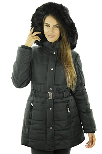 Belted Lined Coat - Sportoli Women's Longer Length Belted Winter Puffer Coat with Plush Lined Hood (Black/L)
