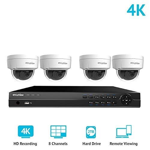 LaView 8 Channel Ultra HD 4K Home Security Camera System with 4 x 8MP IP Dome Cameras, 100ft Night Vision, Weatherproof Expandable Surveillance Camera System NVR 2TB HDD