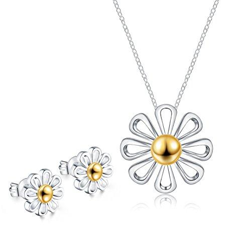 925 Sterling Silver Daisy Pendant Necklace Stud Earrings Set For Women Teen Girls Prime Gift Daisy Necklace Earrings