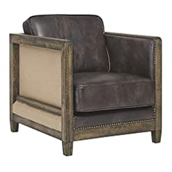 Farmhouse Accent Chairs Signature Design by Ashley Copeland Rustic Faux Leather Accent Chair with Nailhead Trim, Brown farmhouse accent chairs