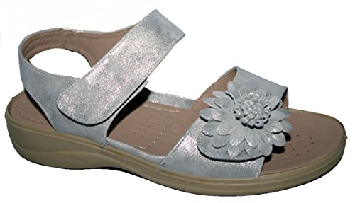 Cushion Walk Ladies Lightweight Summer Sandal with Touch Close Strap Silver X7oPgPY4J