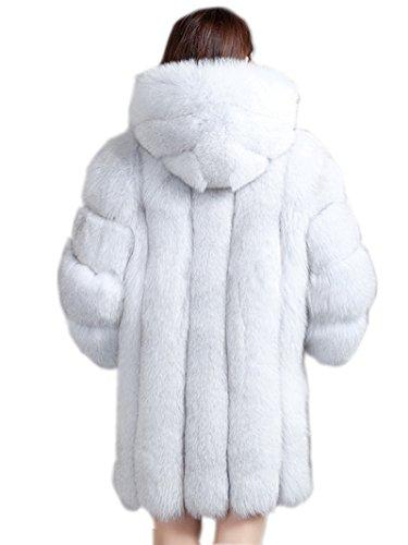 Top Fur Women Hooded Whole Skin Fox Fur Winter Coat Jacket US 12 by TOPFUR (Image #2)
