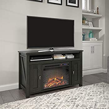 Image of Television Stands & Entertainment Centers Ameriwood Home Farmington Electric Fireplace Console 50', Black Oak TV Stand,