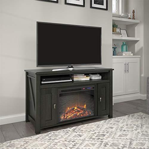 Ameriwood Home Farmington Electric Fireplace Console 50″, Black Oak TV Stand,