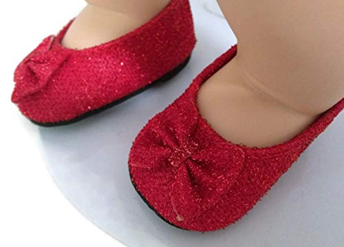 Red Glitter Doll Shoes with Bow Made