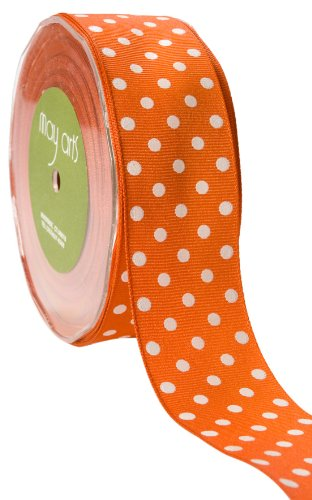 May Arts 1-1/2-Inch Wide Ribbon, Orange Grosgrain Polka Dot