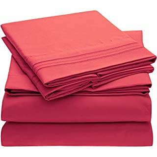 Mellanni Bed Sheet Set Brushed Microfiber 1800 Bedding - Wrinkle, Fade, Stain Resistant - Hypoallergenic - 4 Piece (Full, Hot Pink) (B01DN0ACAG) | Amazon price tracker / tracking, Amazon price history charts, Amazon price watches, Amazon price drop alerts