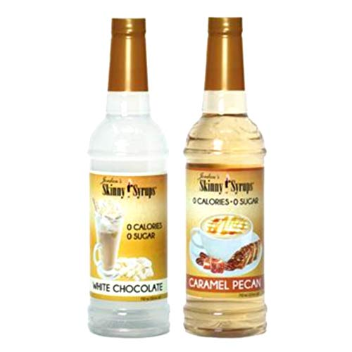 Jordan's Skinny Syrups New Favorites Collection Duos Sugar Free White Chocolate and Caramel Pecan Coffee Syrup (Bundle of 2) Healthy Flavors with 0 Calories, 0 Sugar, 0 Carbs 750ml/25.4oz Bottle