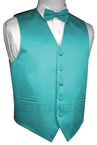 Brand Q Men's Tuxedo Vest and Bow-Tie Set-Teal-M