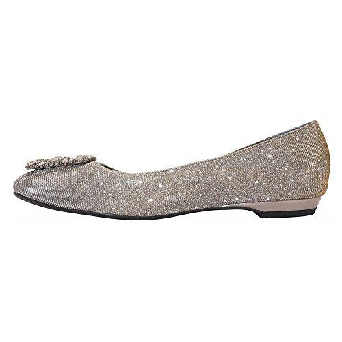 J renee Dewport Ballet Fabric Flat Glitter Women's Dance Pewter 1qarv17