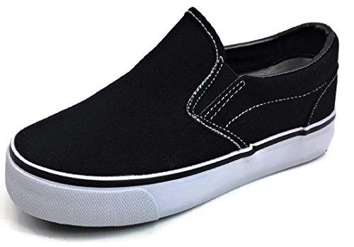 (Toddler Classic Slip On Canvas Sneaker Tennis Shoes, Black White, 8 Toddler)