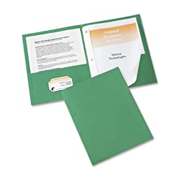 Avery Two-Pocket Folders, Green, Pack of 25 (47977)