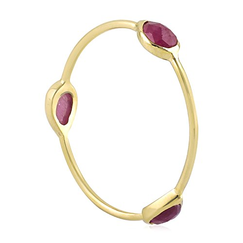 Mettlle 18K Yellow Gold Three Stone Natural Ruby Fashion Band Ring for Women Size - Ruby Gold Mens Bands