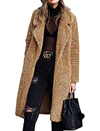 Women's Fuzzy Fleece Lapel Open Front Long Cardigan Coat...