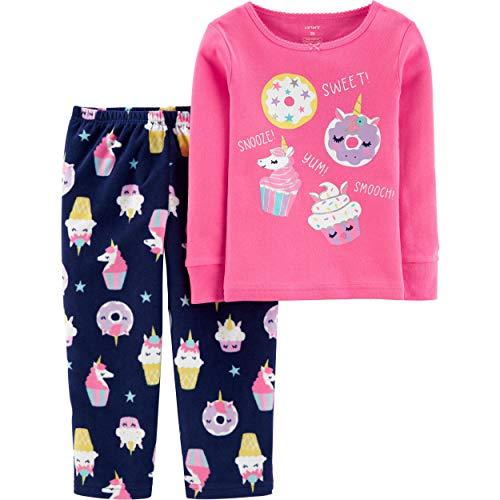 Carter's Girls' 2-Piece Fleece Pajamas Top and Pants Set (Sweet Cupcake/Pink, 2T)