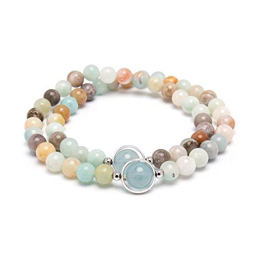 Bivei Premium Natural Genuine Gemstone Round Beads Multi Layer Crystal Bracelets in Gift Box(Amazonite+Blue Aquamarine)