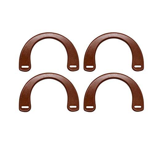 (Model Worker 4PCS Wooden U-Shaped Handles Replacement for Handmade Bag Handbags Purse Handles (Brown))