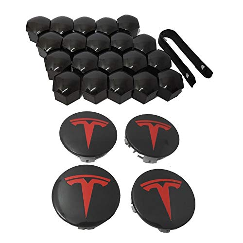 LLDWORK Hub Cover Kit, AeroWheelCapKitfor TeslaModel3,ModelS&ModelX- 4HubCenterCap+20LugNutCover