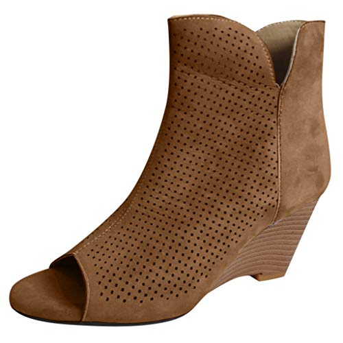 Dermanony Women's Wedge Sandals Fish Mouth Casual Short Boots Square Pinhole Mesh Breathable Wedges Heel Ankle Booties Brown