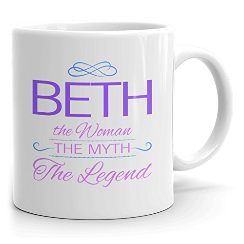 Beth Coffee Mugs - The Woman The Myth The Legend - Best Gifts for Women - 11oz White Mug - Purple