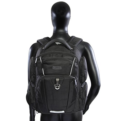 41lmpZoVsZL - Perry Ellis Men's 9-Pocket Professional Laptop Backpack-P350 Business Backpack, Black, One Size