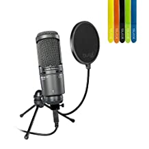 Audio-Technica AT2020USB Plus Condenser Microphone -INCLUDES - Blucoil Pop Filter + 5 Pack Cable Ties - STUDIO BUNDLE