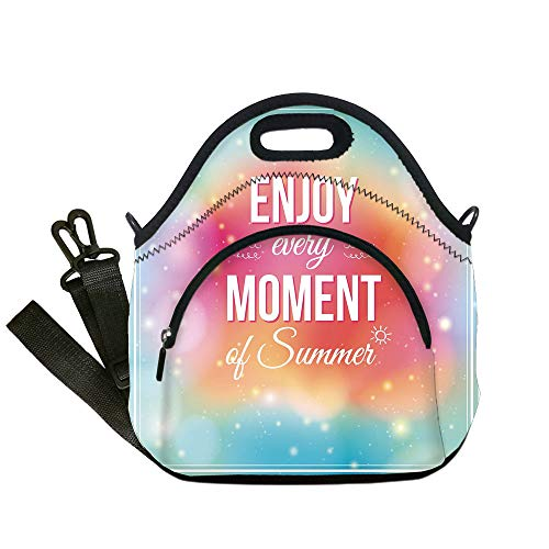 Insulated Lunch Bag,Neoprene Lunch Tote Bags,Inspirational,Enjoy Every Moment of Summer Quote on Hazy Tone Background Artwork,Turquoise Pink Orange,for Adults and children