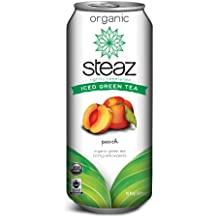 Steaz Iced Tea Can, Peach Green, Gluten Free, 16-ounces (Pack of12)