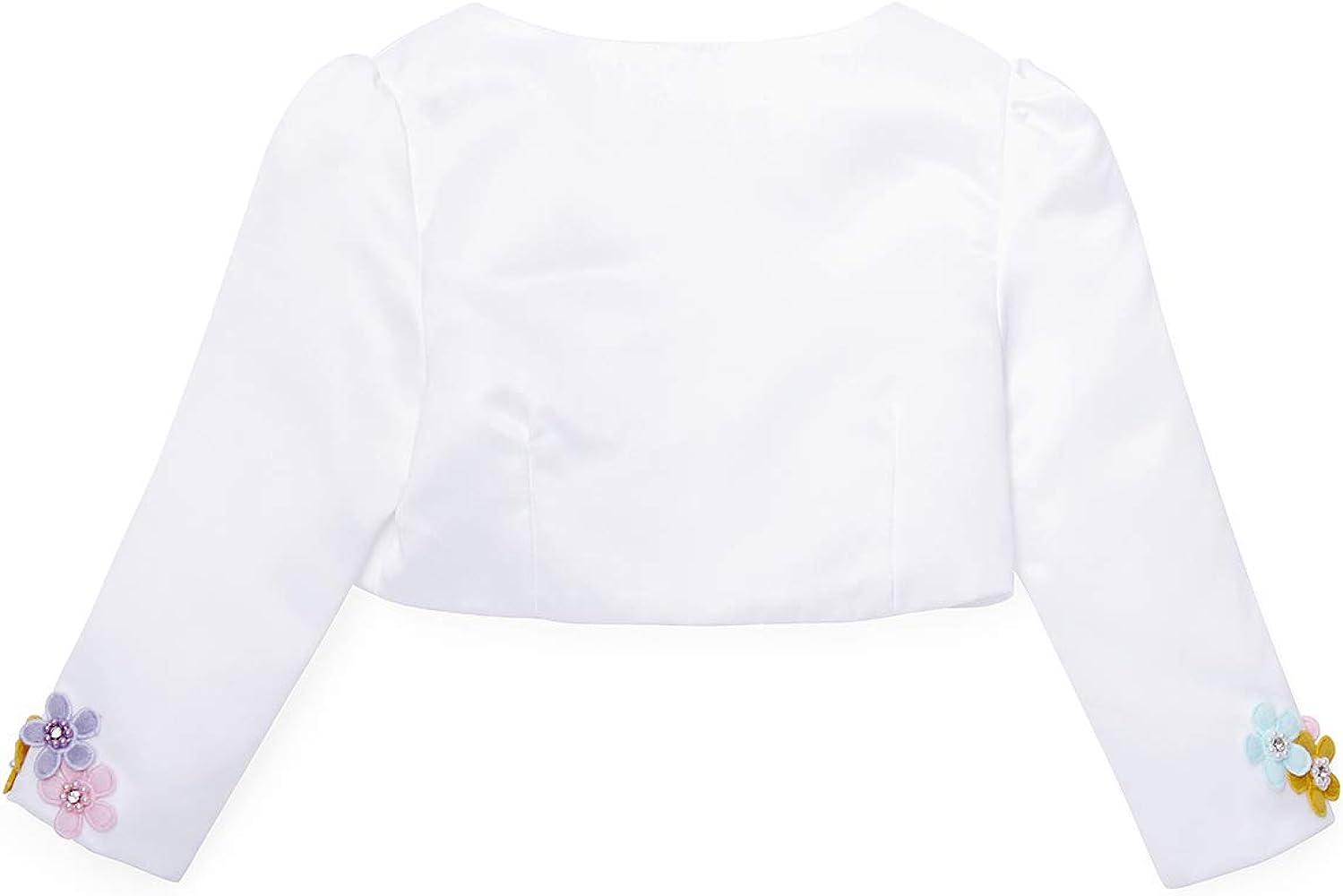 NEW Girls White floral lace short bolero Shrug Party wedding Gift Princess Boho