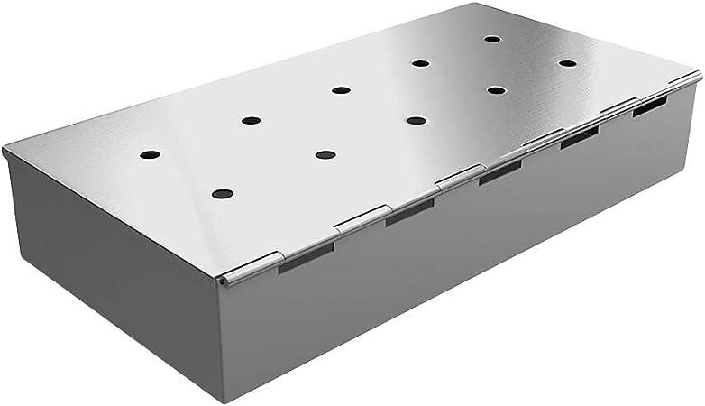 Yissma Smokerbox Caja para Fumar Accesorios de Parrilla de Acero Inoxidable para Parrilla de Gas, Parrilla de carbón y hervidor de Agua Aroma Caja Dimensiones 22.7 ...